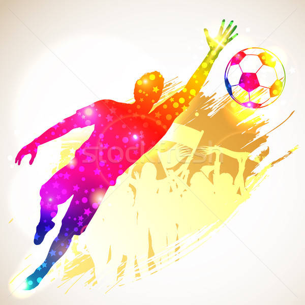 Football gardien de but silhouette footballeur fans grunge Photo stock © -TAlex-