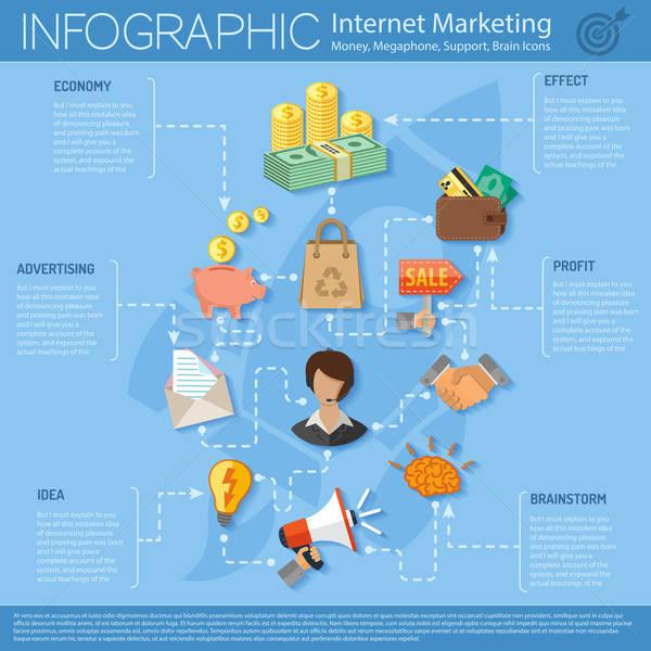 Stock fotó: Internet · marketing · infografika · stílus · ikonok · megafon · agy