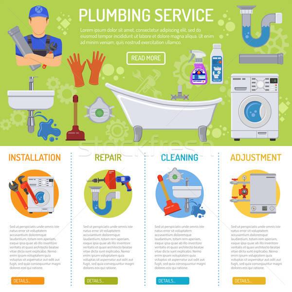 Sanitair dienst infographics installatie reparatie loodgieter Stockfoto © -TAlex-