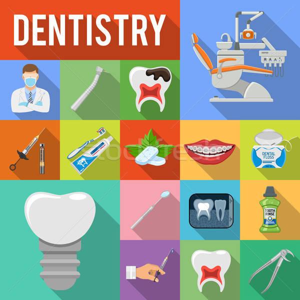 набор стоматологических услугами иконки стиль Сток-фото © -TAlex-