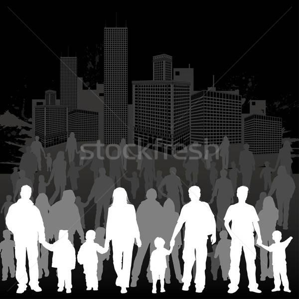 Stok fotoğraf: Aile · siluetleri · büyük · vektör · ebeveyn · çocuklar