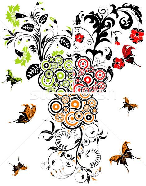 Foto d'archivio: Floreale · fiore · cerchio · farfalla · elemento · design