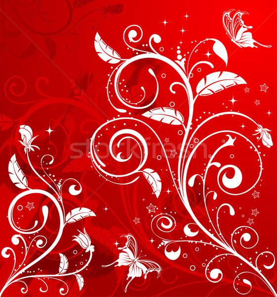 Virágmintás grunge pillangó alkotóelem terv absztrakt Stock fotó © -TAlex-