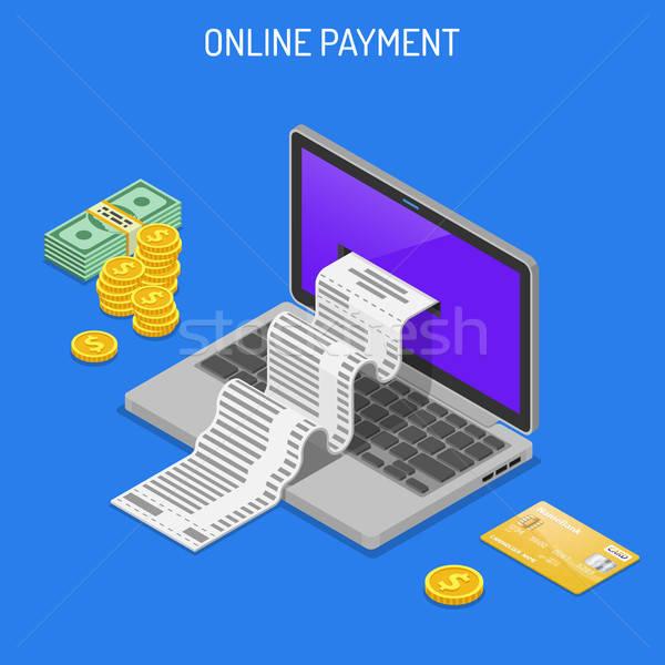 Internet-Shopping online Laptop überprüfen Kreditkarten Geld Stock foto © -TAlex-