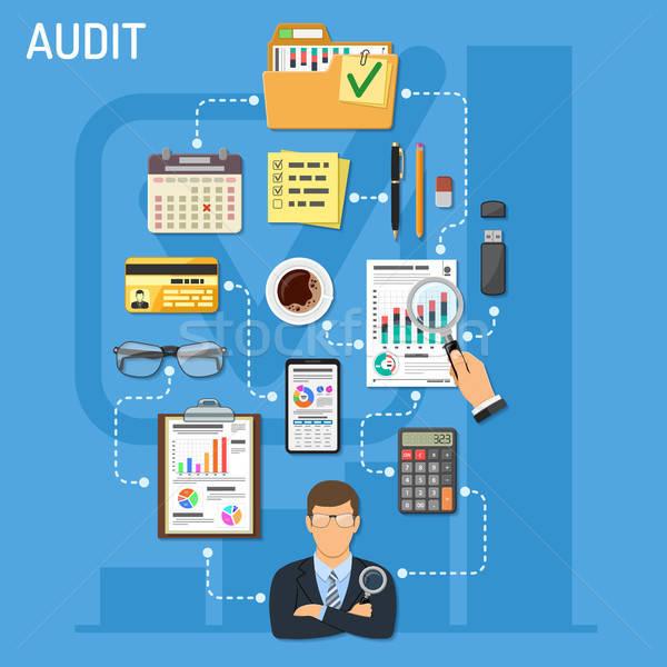 Negócio contabilidade infográficos imposto auditor lupa Foto stock © -TAlex-