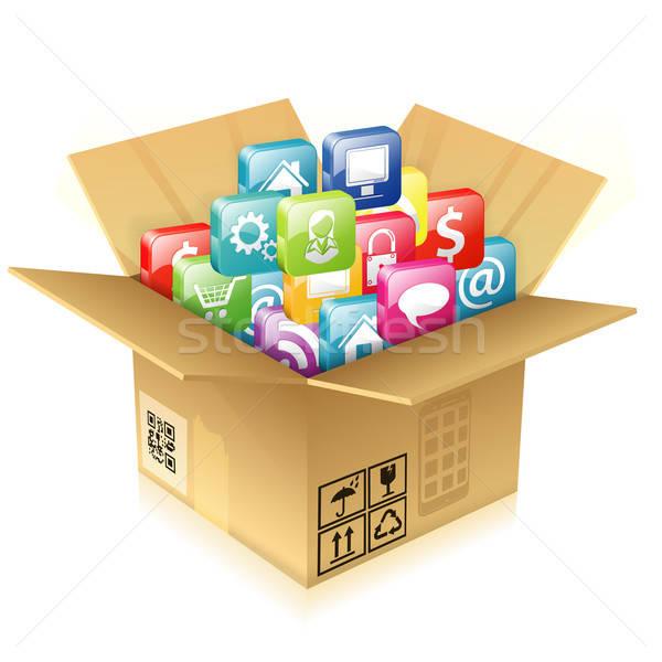 Caja de cartón establecer iconos abierto casa Foto stock © -TAlex-