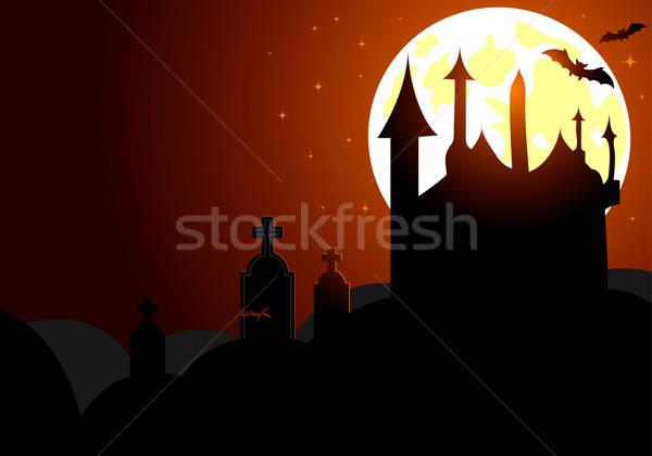 Halloween bat huis element ontwerp hemel Stockfoto © -TAlex-