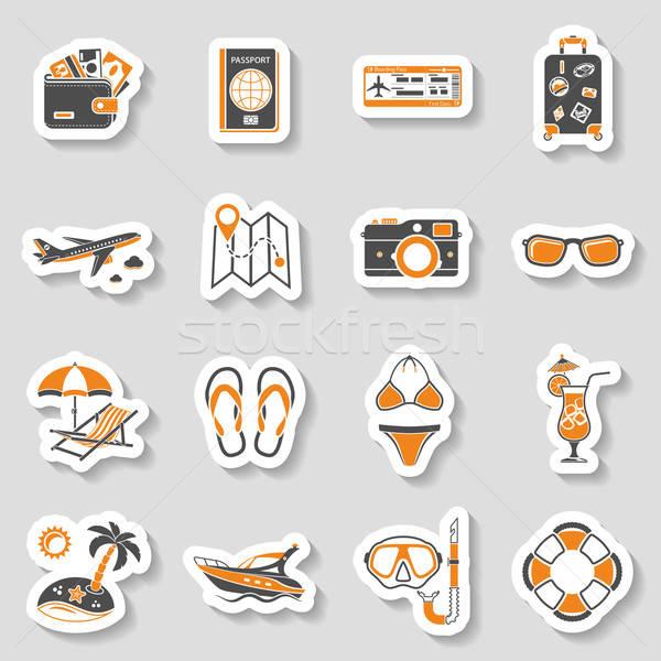 отпуск туризма иконки наклейку набор мобильных Сток-фото © -TAlex-