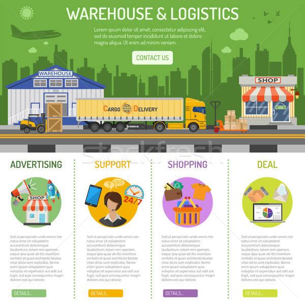 Almacén logística infografía ecommerce comercialización Foto stock © -TAlex-