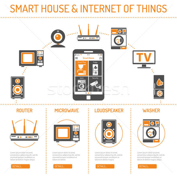 Foto d'archivio: Smart · casa · internet · cose · smartphone · home