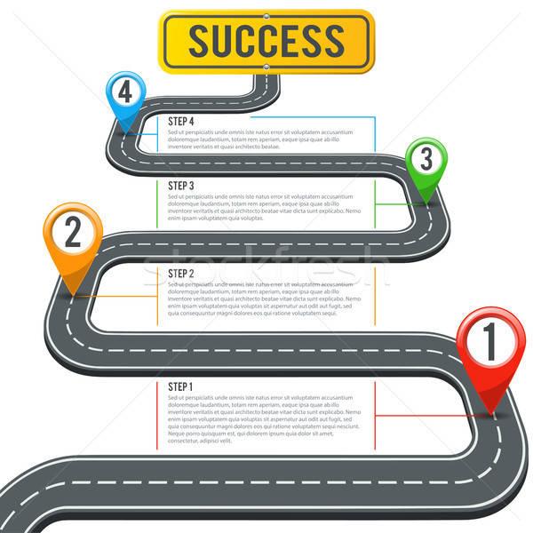 Idővonal út infografika tő üzlet jelzőtábla Stock fotó © -TAlex-