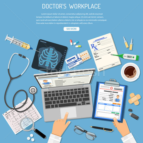 Doctors Workplace and Medical Diagnostics Concept Stock photo © -TAlex-