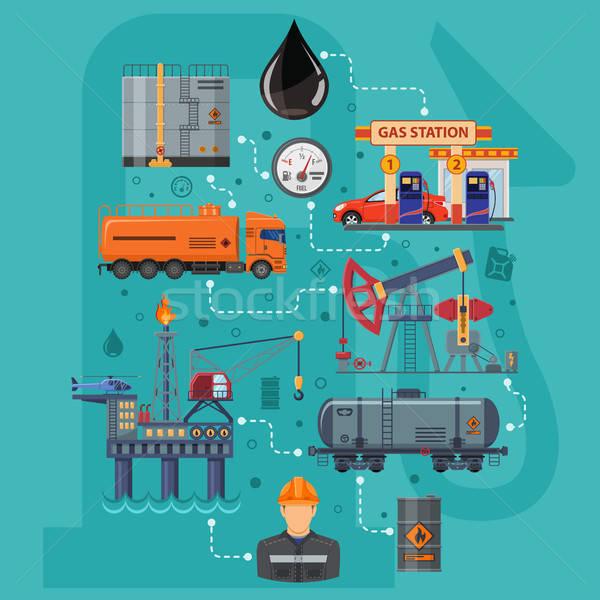 Przemysł naftowy infografiki ikona produkcji transport oleju Zdjęcia stock © -TAlex-