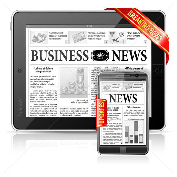 Breaking News Concept - Tablet PC & Smartphone Business News Stock photo © -TAlex-