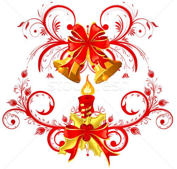 Stock fotó: Karácsony · gyertya · íj · fagyöngy · alkotóelem · terv