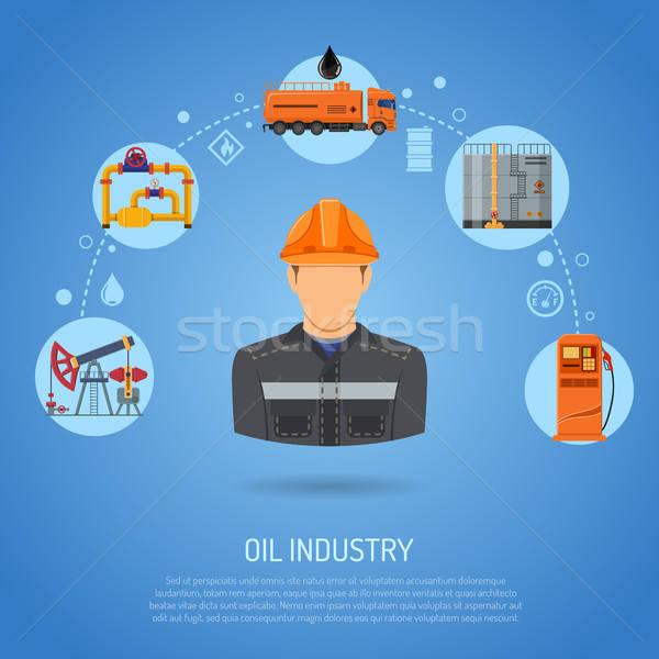 Olajipar ikonok gyártás közlekedés olaj benzin Stock fotó © -TAlex-