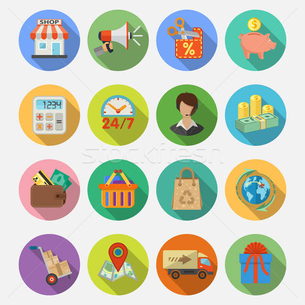Internetes vásárlás házhozszállítás ikon gyűjtemény teher részletes ekereskedelem Stock fotó © -TAlex-