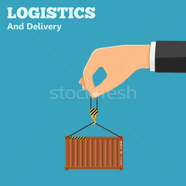 Logistiek levering hand container iconen geïsoleerd Stockfoto © -TAlex-