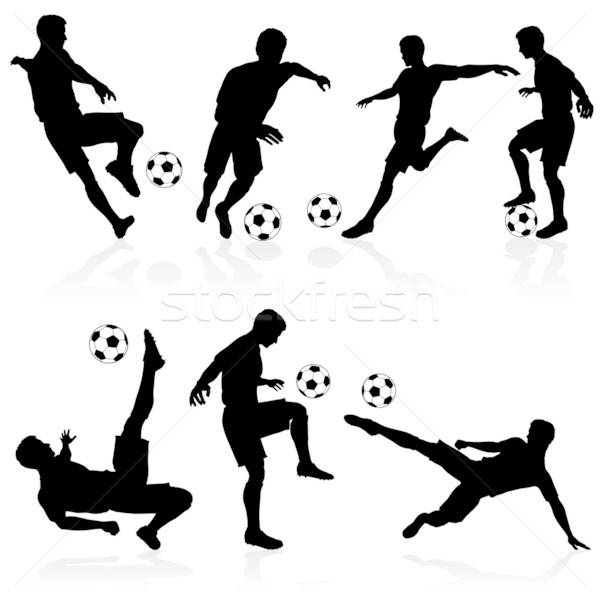 Photo stock: Silhouettes · football · joueurs · football