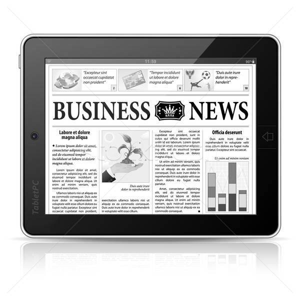 Concept - Digital News. Tablet PC with Business News on Screen Stock photo © -TAlex-