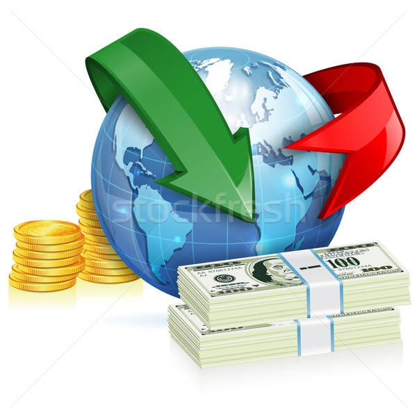 Global transferência de dinheiro moedas notas terra Foto stock © -TAlex-