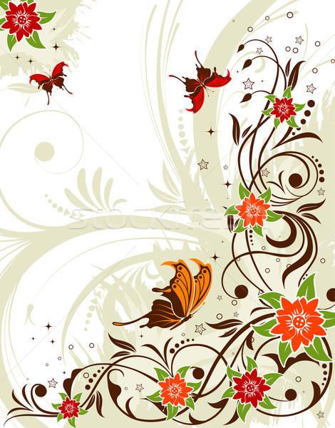 Virág grunge pillangó alkotóelem terv absztrakt Stock fotó © -TAlex-