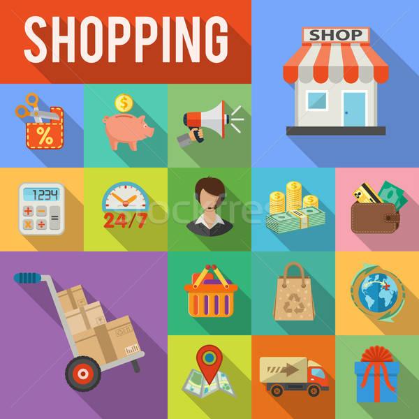 Internetes vásárlás házhozszállítás teher részletes ikonok bolt Stock fotó © -TAlex-