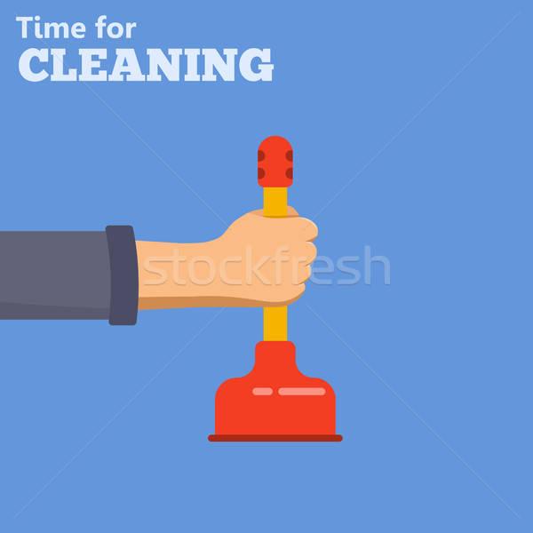 Sanitair dienst schoonmaken iconen hand werk Stockfoto © -TAlex-