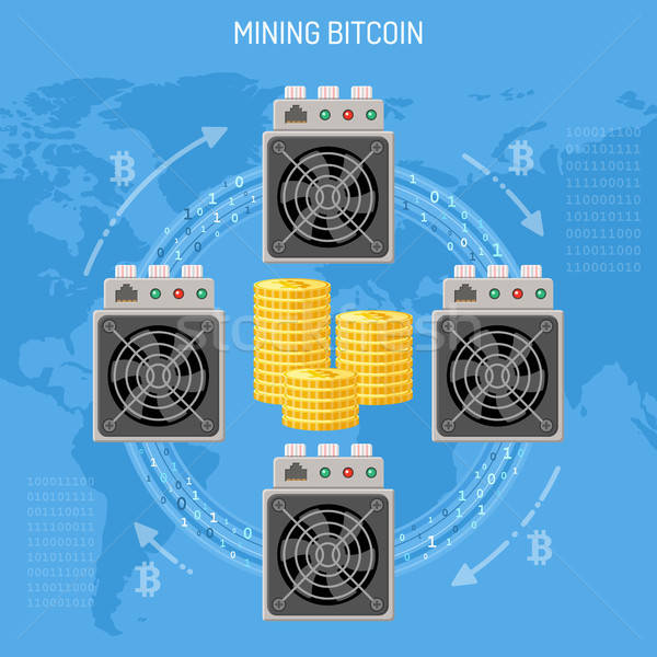 Mining crypto currency bitcoin concept Stock photo © -TAlex-