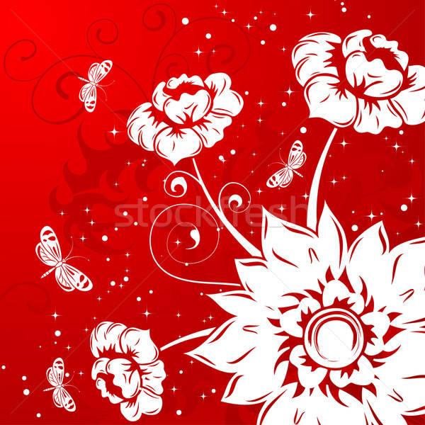 Virágmintás pillangó alkotóelem terv absztrakt természet Stock fotó © -TAlex-