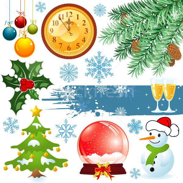 Karácsony szett nagy elemek terv földgömb Stock fotó © -TAlex-