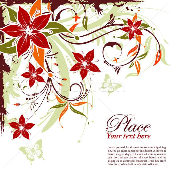 Floral marco grunge decorativo mariposa elemento Foto stock © -TAlex-