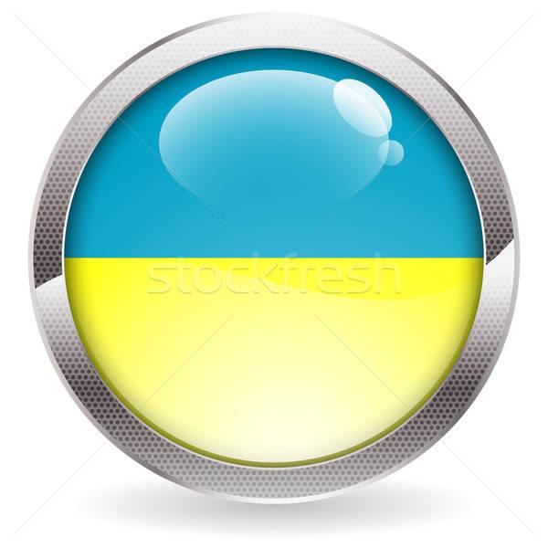 Cila düğme Ukrayna bayrak üç boyutlu daire Stok fotoğraf © -TAlex-