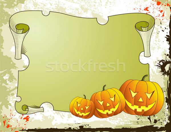 Halloween halloween tök pergamen textúra festék keret Stock fotó © -TAlex-