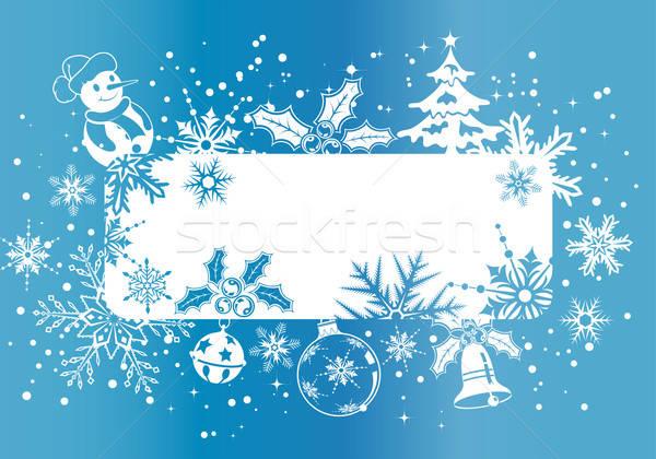 Stock fotó: Karácsony · keret · hópelyhek · dekoráció · alkotóelem · textúra