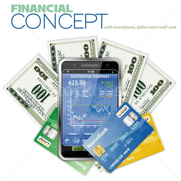Stock photo: Financial Concept with Touchphone, Dollar Bills and Credit Cards