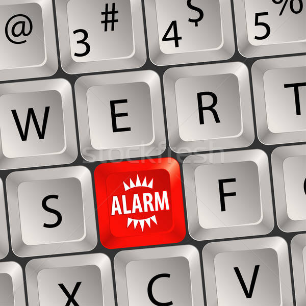 Számítógép billentyűzet riasztó gomb üzlet internet biztonság Stock fotó © -TAlex-
