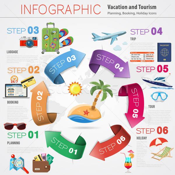 Vakáció idővonal infografika ünnep turizmus mobil Stock fotó © -TAlex-
