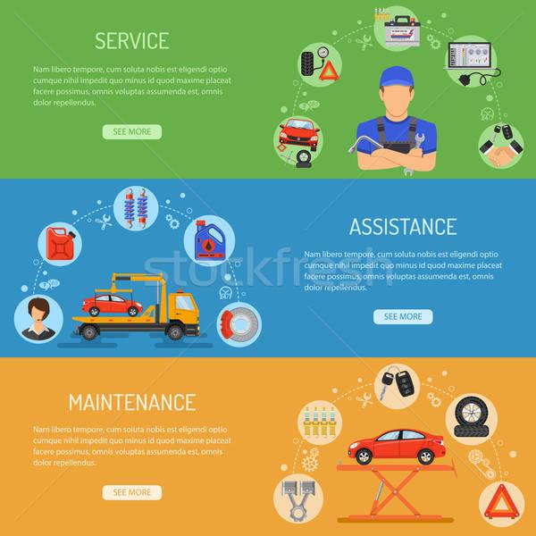 Foto stock: Carro · serviço · banners · horizontal · ícones · como