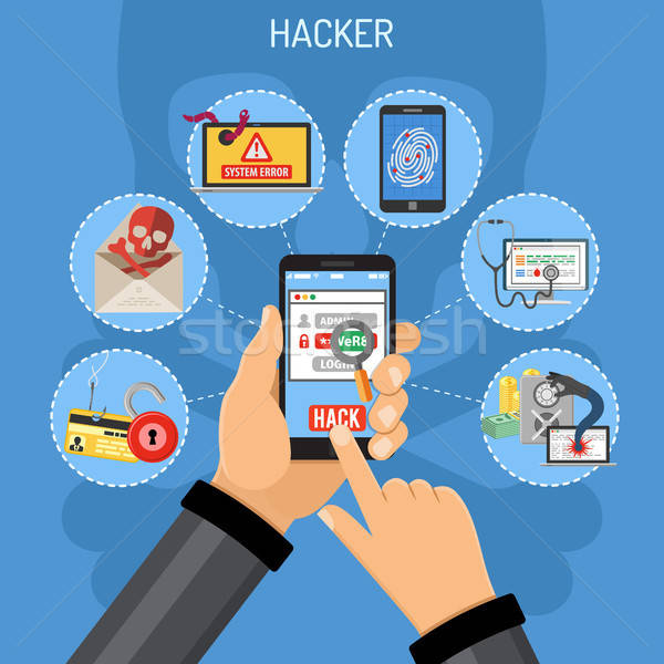 Cyber Crime Concept with Hacker Stock photo © -TAlex-
