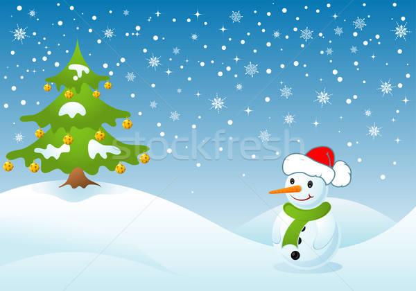 Stock fotó: Karácsony · karácsonyfa · hóember · textúra · absztrakt · terv