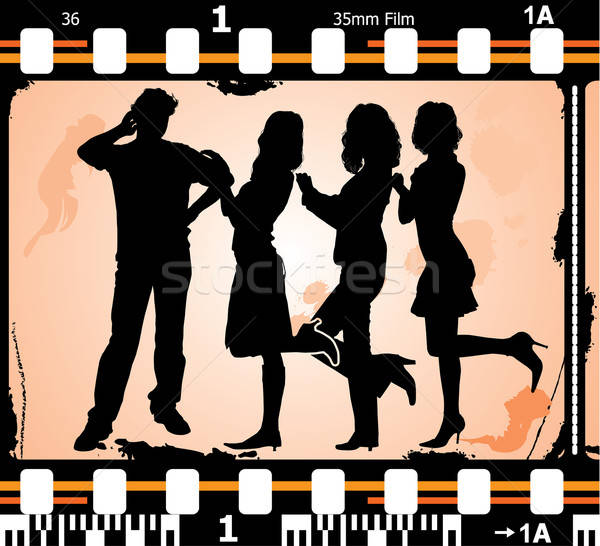 Vector silhouettes man and women on on photographic film Stock photo © -TAlex-
