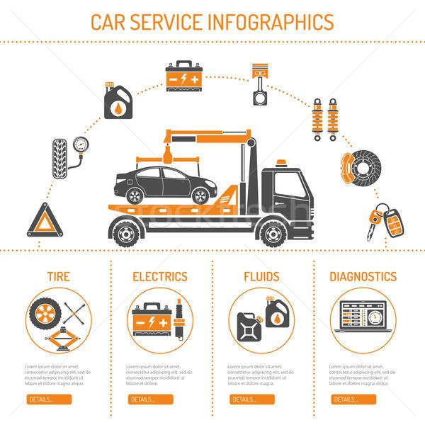 Foto stock: Coche · servicio · infografía · iconos · sitio · web · publicidad