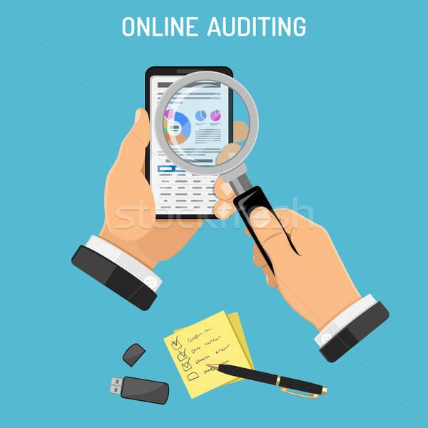 Online adó folyamat könyvelés könyvvizsgáló okostelefon Stock fotó © -TAlex-
