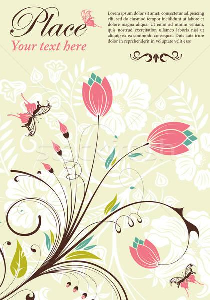 Flor marco mariposa elemento diseno textura Foto stock © -TAlex-