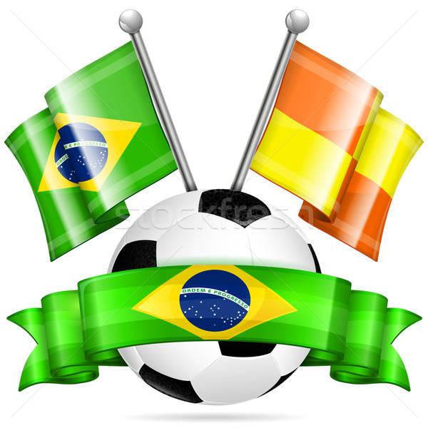 Football affiche ballon drapeaux ruban couleur Photo stock © -TAlex-