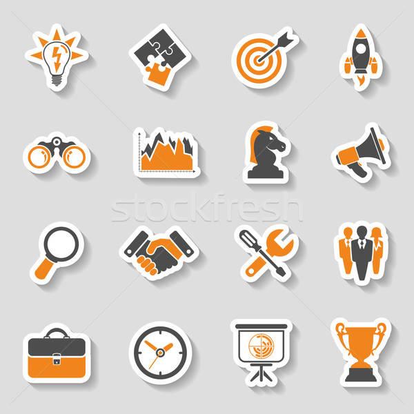 İş stratejisi ikon etiket ayarlamak iş finanse Stok fotoğraf © -TAlex-