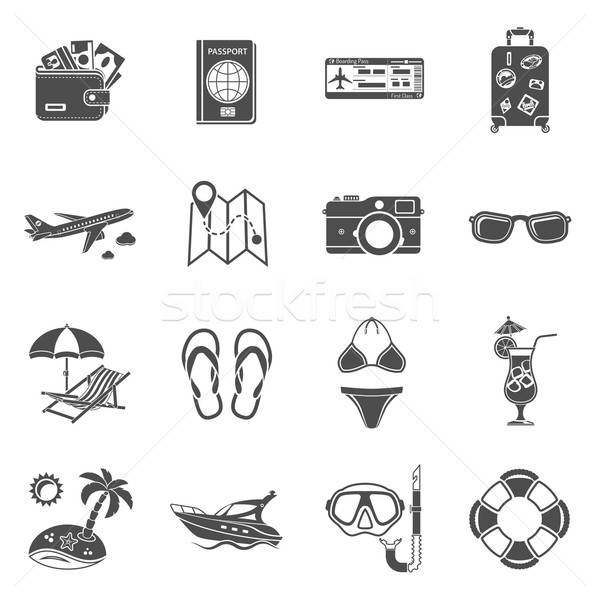 Vacation and Tourism Icons Set Stock photo © -TAlex-