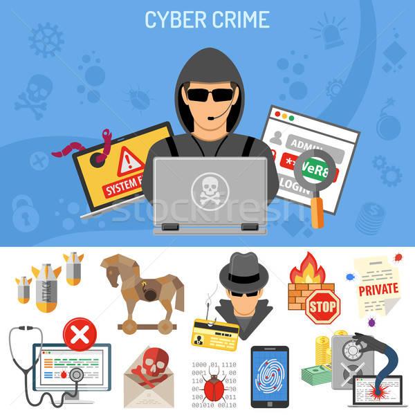 Bűnözés szórólap poszter weboldal nyomtatás hirdetés Stock fotó © -TAlex-