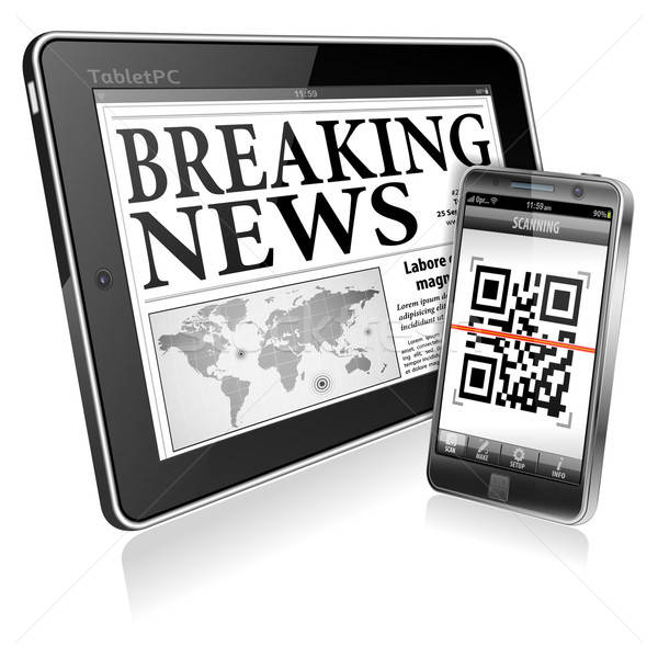 Digitale nieuws smartphone business krant Stockfoto © -TAlex-